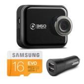 360行车记录仪套装升级版 J501C 安霸A12 高清夜视 WIFI连接 智能管理 机卡套装 黑色